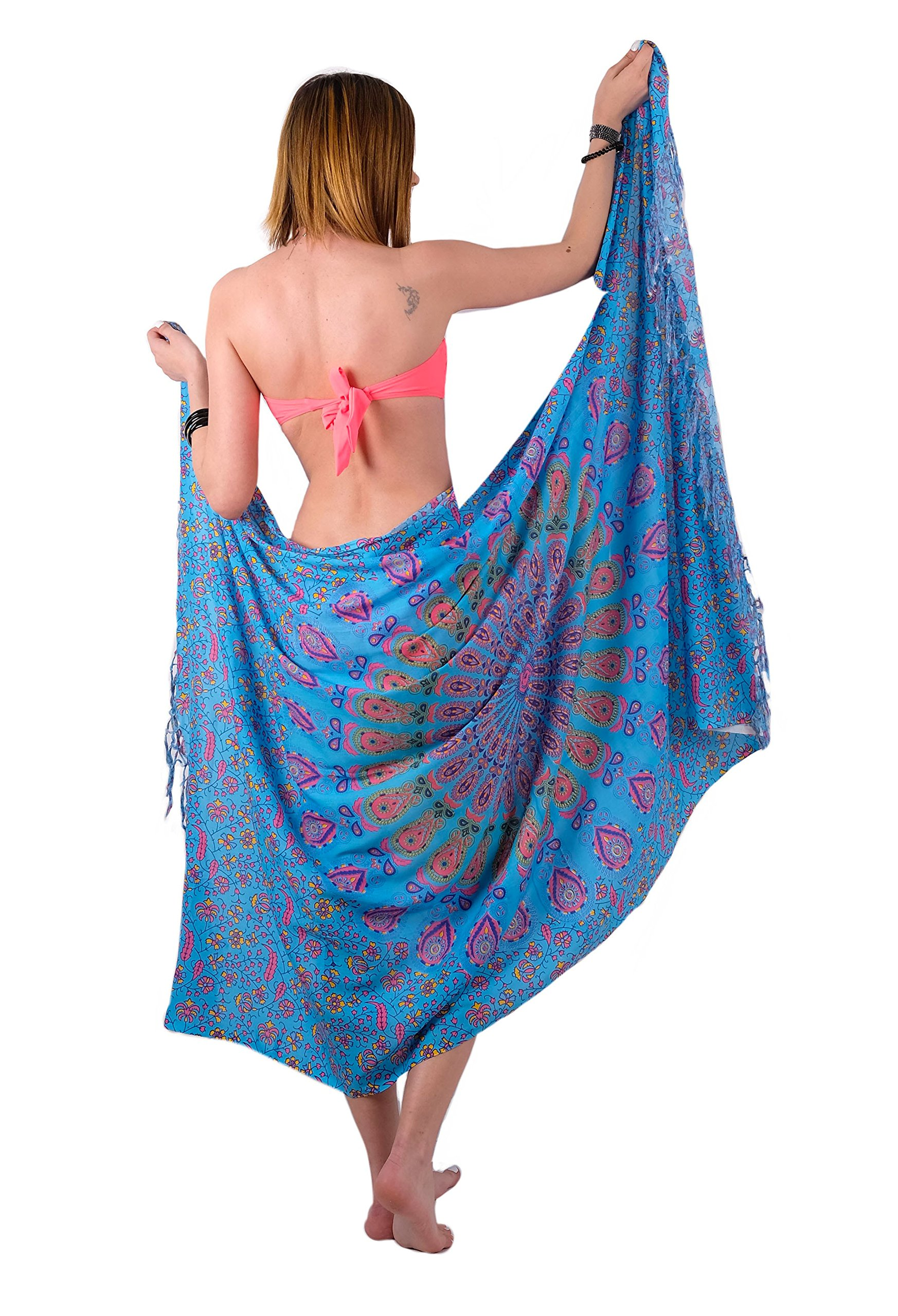 Boho Chic Sarong Gorgeous Hand-Printed Bohemian Pareo Endlessly Versatile Uses Bikini Swimsuit Cover Up,Beach Blanket,Tapestry,Dress,Wall Hanging,Throw by Mandala Life ART,Pink Peacock,Large