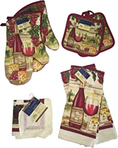 Home Collection Kitchen Linen Set Bundle: Tuscan Red Wine & Cheese