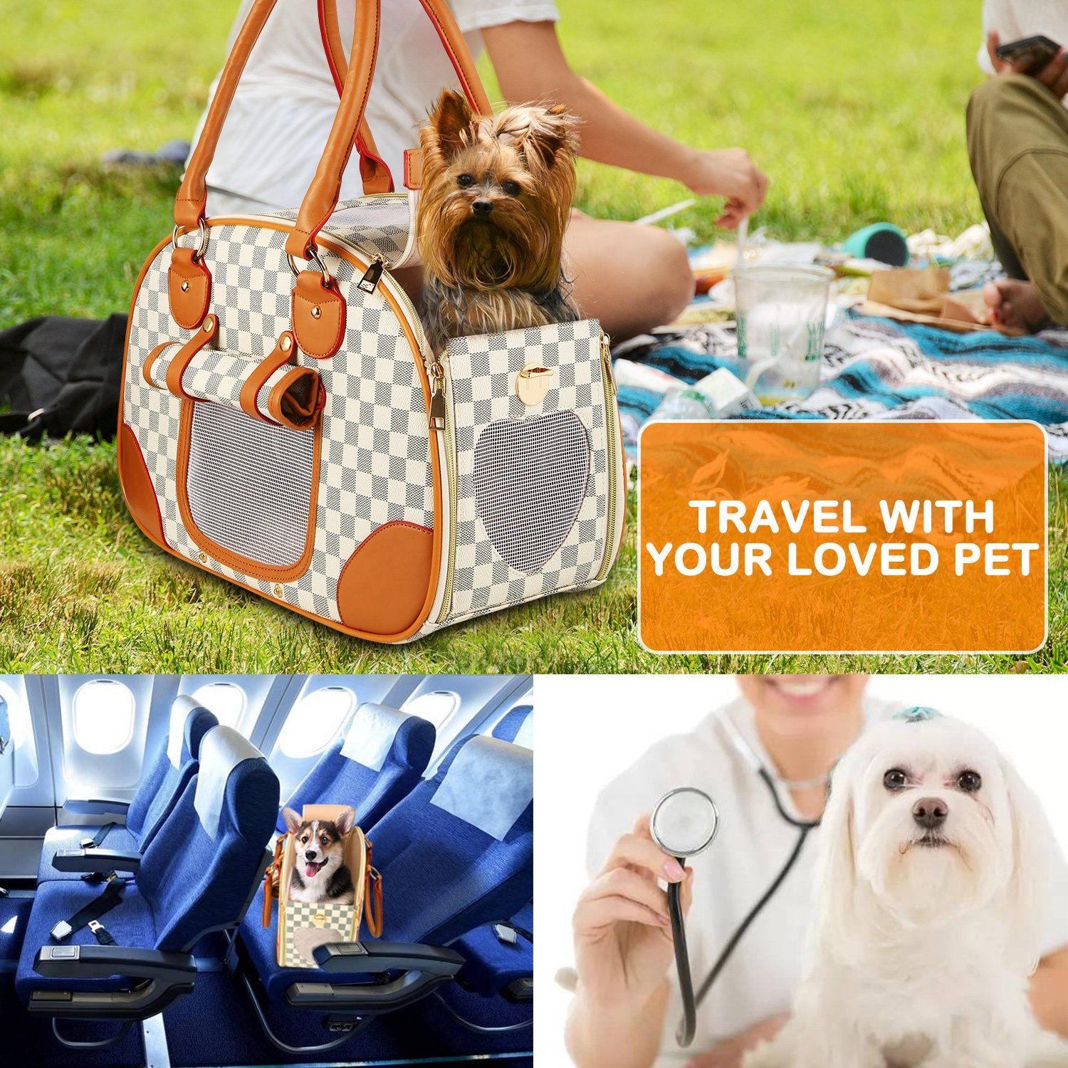 wot i Soft Sided Pet Carrier, Cat Carrier Dog Carrier Airline Approved Pet Carrier Suitable for Small Dogs and Cats, Medium Cats and Dogs, Puppy, Kittens, Small Animals, Luxury PU Leather Travel Bag by wot i (Image #6)