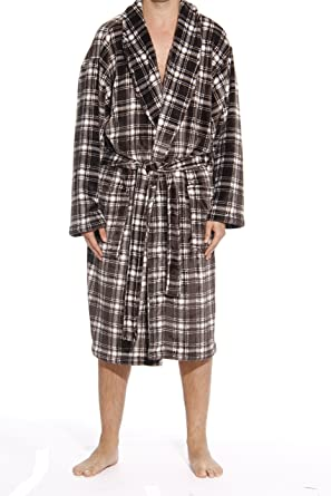 ec35aaec34  followme 46903-7-M Printed Plaid Velour Flannel Robe Robes for Men White