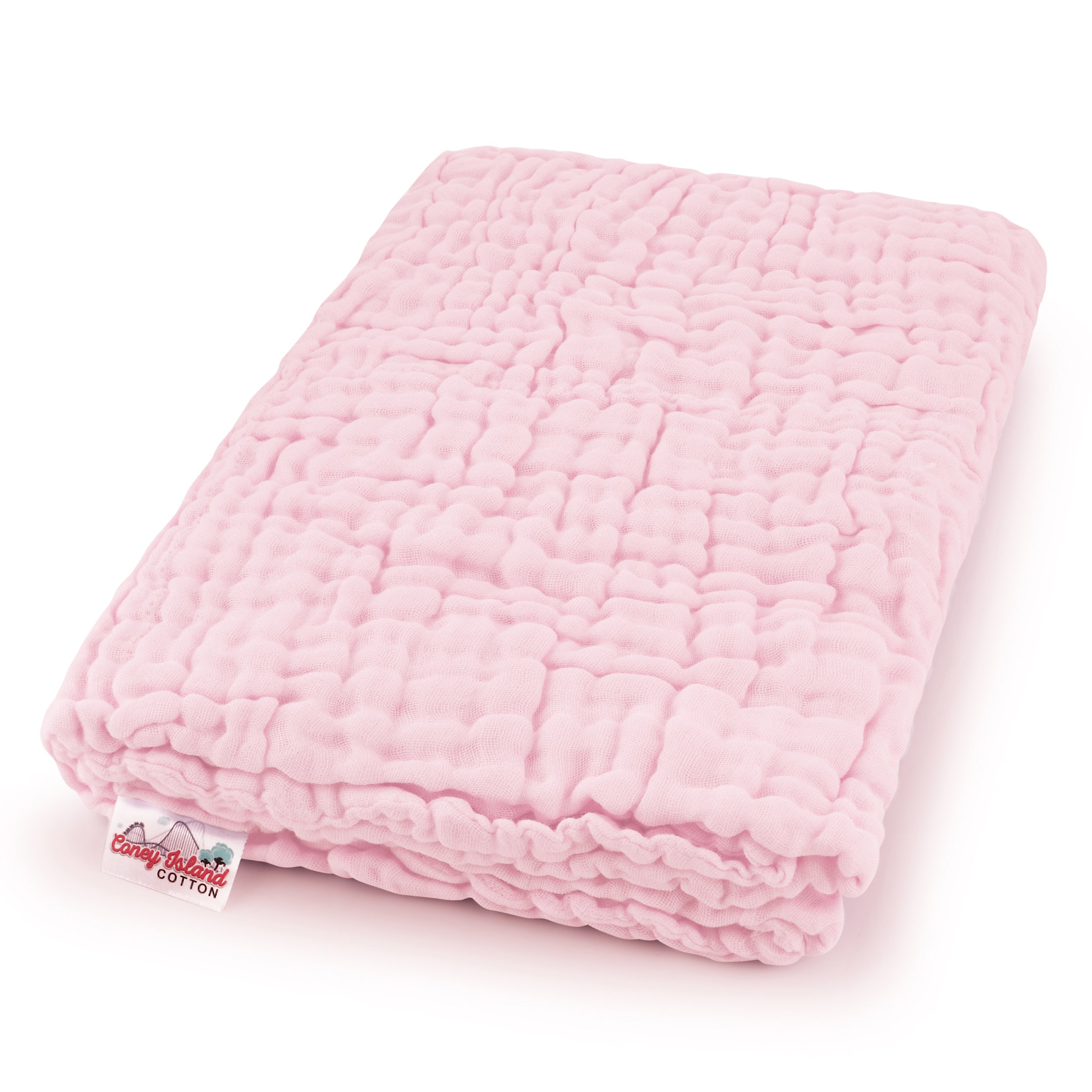Coney Island Cotton Light Pink Muslin 6 Layer Multi Use Blanket Or Baby Towel Natural Antibacterial Large 45'' by 45 inch Fluffy, Warm & Soft Absorbent