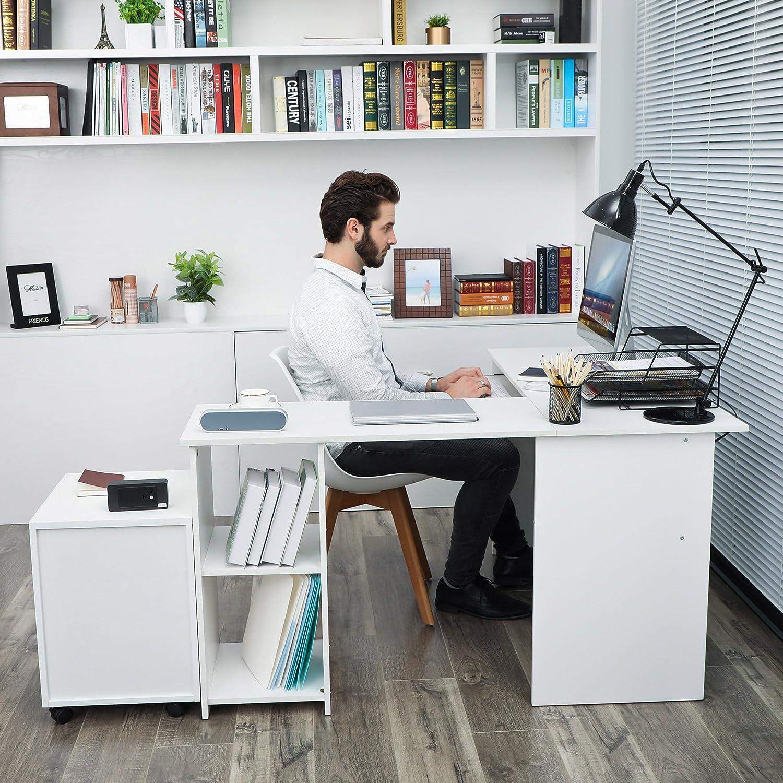 VASAGLE Escritorio de la Computadora Blanco Ordenador en Forma de ...