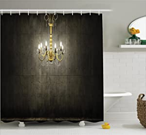 Ambesonne Grunge Shower Curtain, Classic Chandelier in a Dark Gothic Wooden Room Vintage Style Room Picture, Fabric Bathroom Decor Set with Hooks, 75 Inches Long, Grey and Yellow