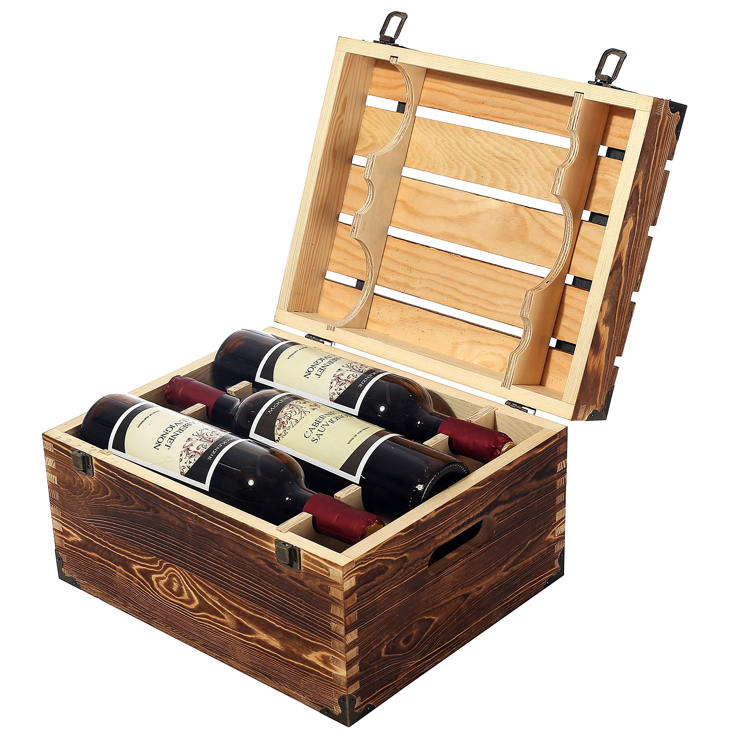 MyGift Wood 6 Wine Bottle Case, Rustic Storage Box with Handles and Lid, Brown by MyGift (Image #3)