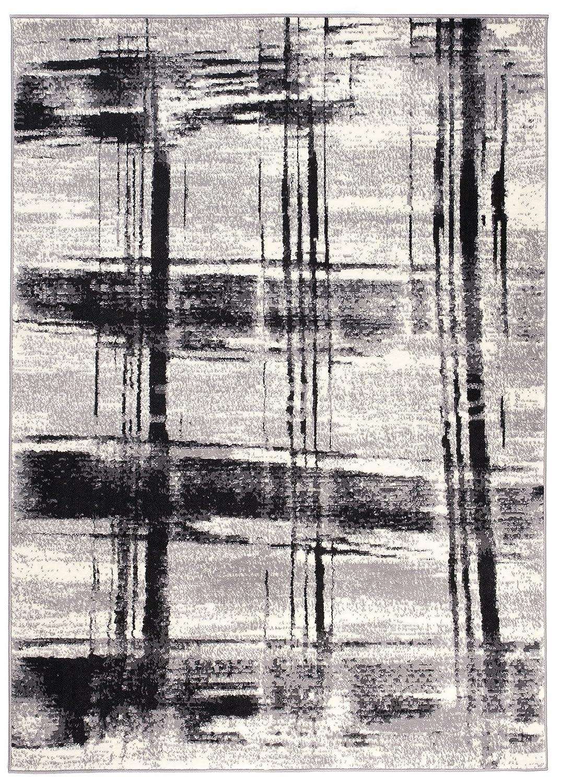 Teppich Modern Karriert Karo Abstrakt Muster Meliert in Weiss Schwarz - ÖKO TEX (200 x 300 cm)