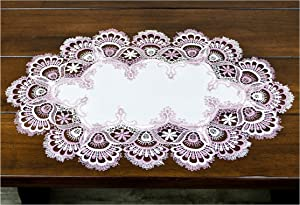 Linens, Art and Things White Mauve Rose Jacquard Lace Place Mat Doily Dresser Scarf Table Runner Pink 12 Inches x 21 Inches