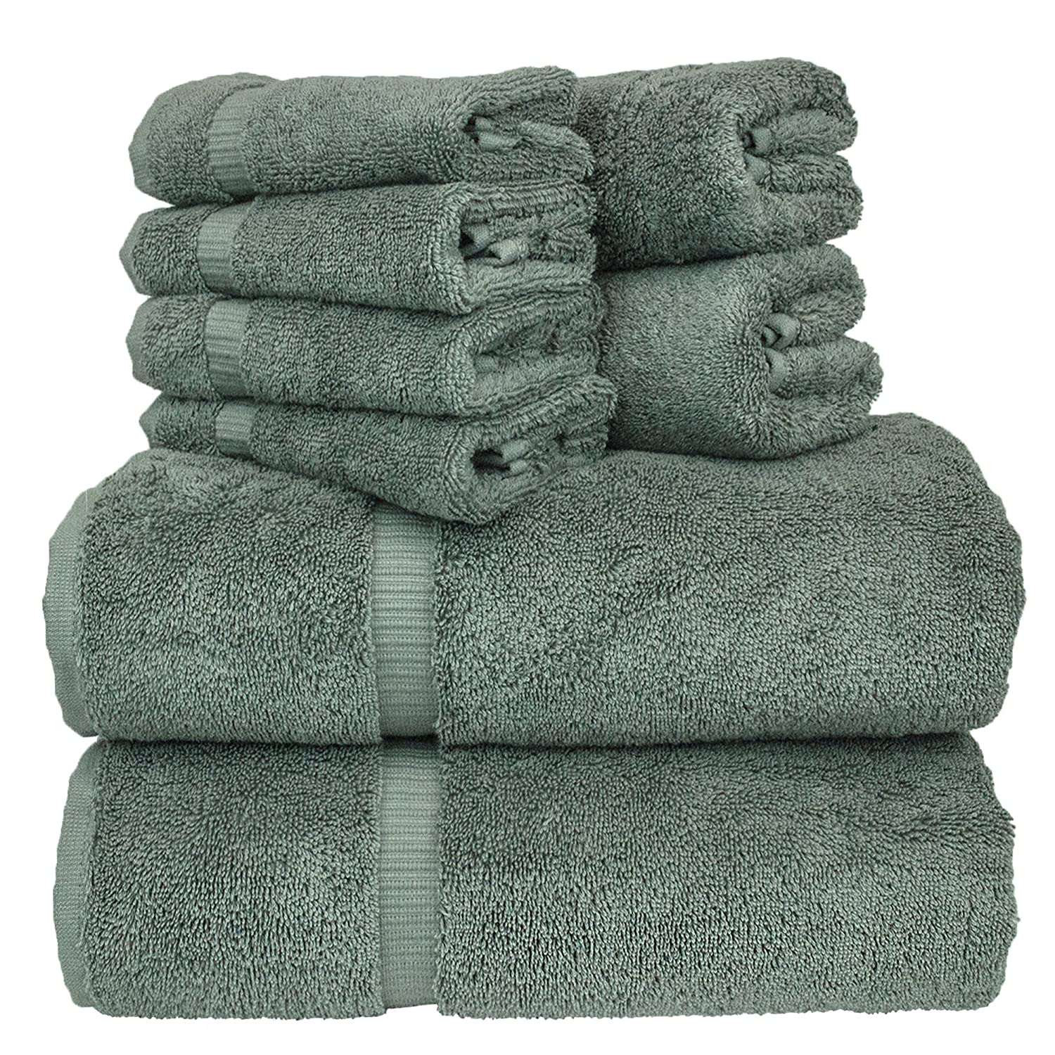 Amazon Luxury Hotel Spa Bath Towel Set Turkish Cotton Bundle Total 8 Piece 2 27X54 Hand 16X30 4 Washcloth 13x13