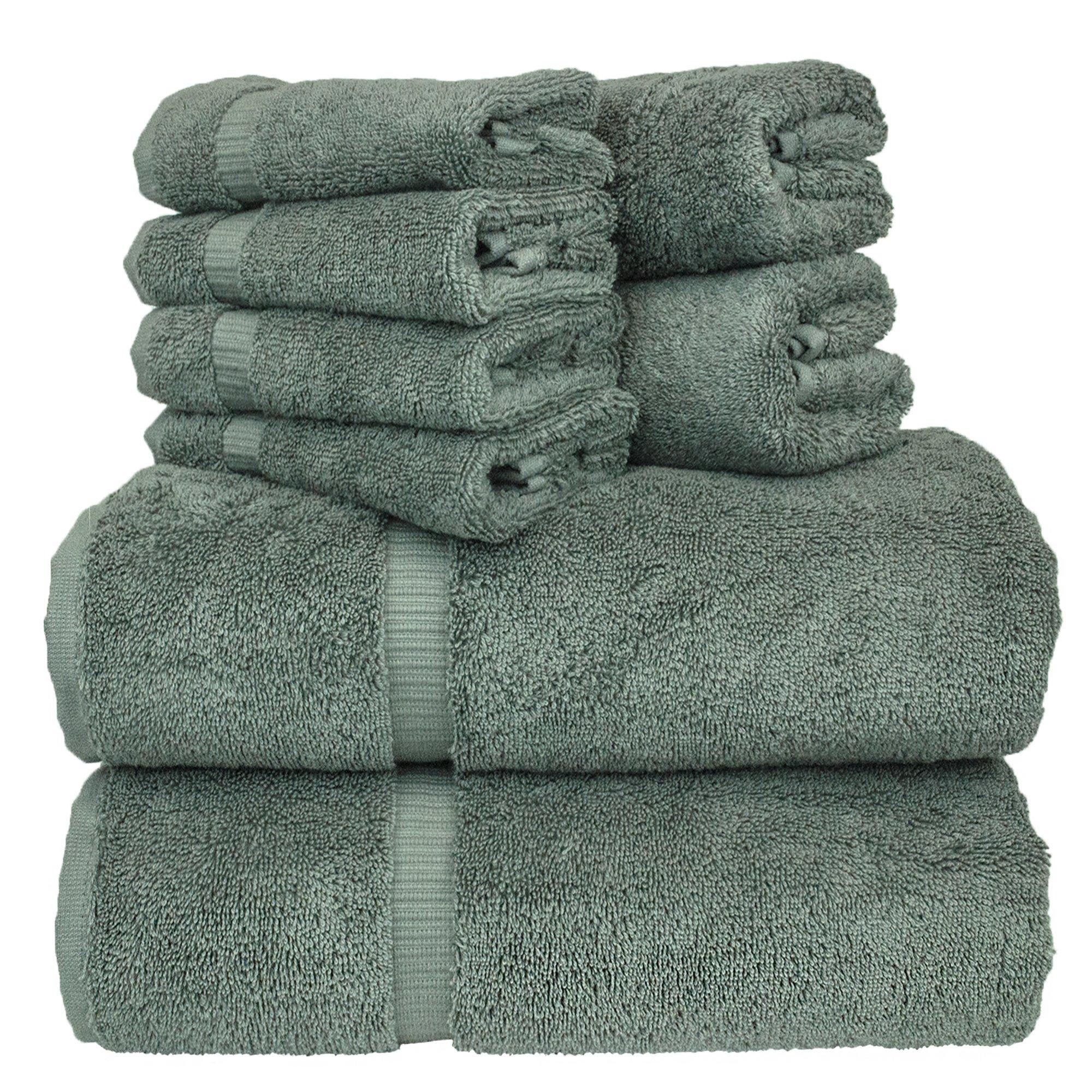 Luxury Hotel & Spa Bath Towel Set Turkish Cotton Towel Bundle Total 8-Piece Set, 2 Bath Towel 27''X54'', 2 Hand Towel 16''X30'', 4 Washcloth 13''x13'', Set of 8 (Gray)