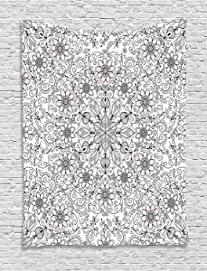 Ambesonne Ethnic Tapestry, Vintage Abstract Flower Swirls Leaves Doily Style Pastel, Wall Hanging for Bedroom Living Room Dorm Decor, 60