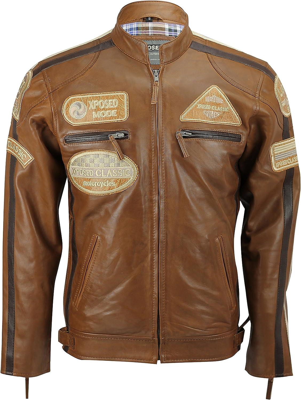 XPOSED New Mens Real Leather Jacket Cognac Brown Racing Badges Zip Jacket Vintage Retro
