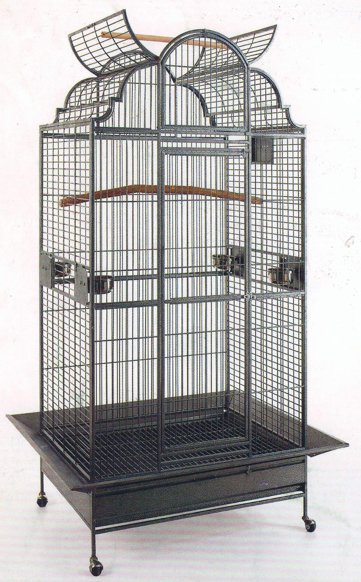 New Large Play Dome Top Wrought Iron Bird Parrot Parttot Finch Macaw Cockatoo Cage Including Stand, Seed Guard and Play Top Stand (BlackVein) by Mcage