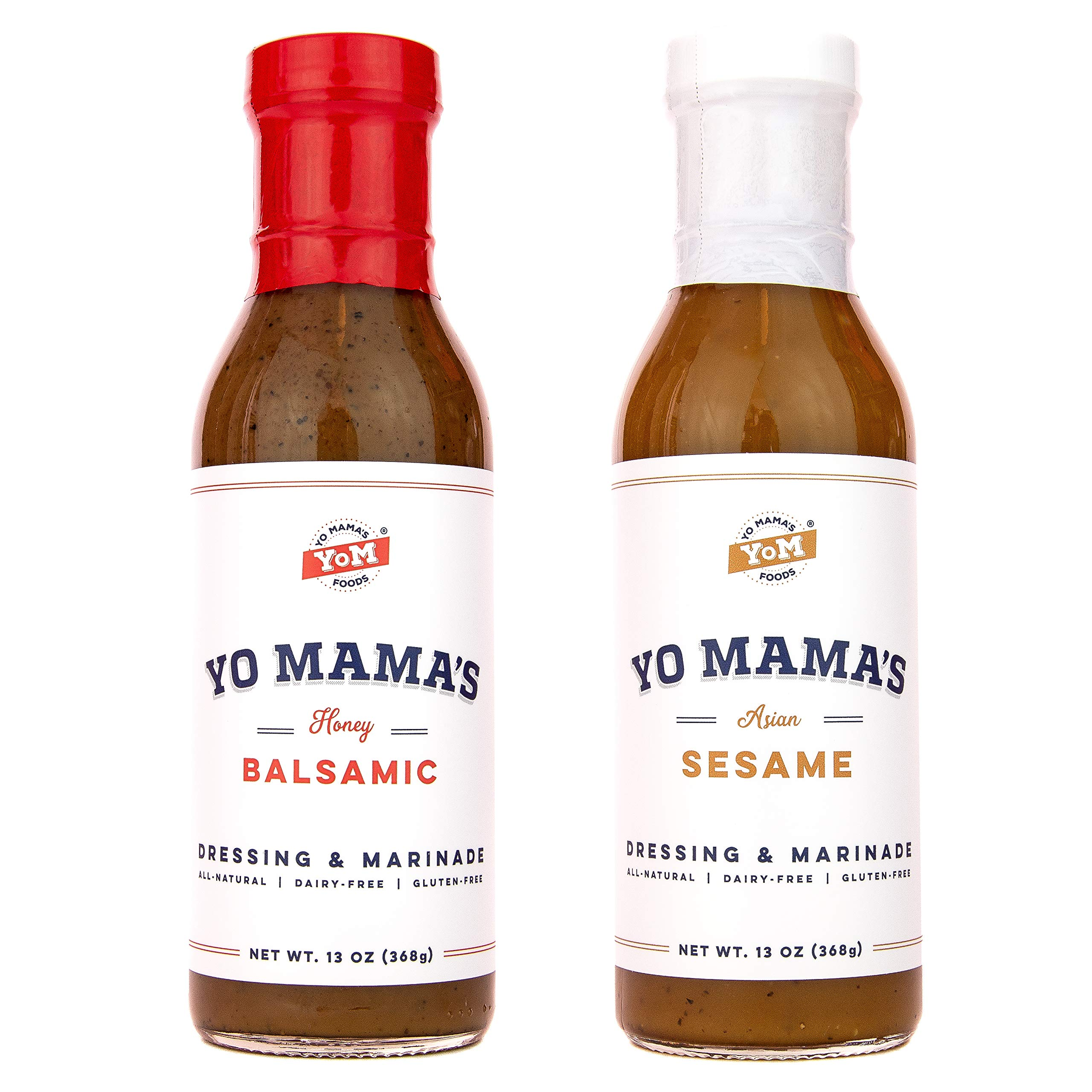 Gourmet Natural Salad Dressing and Marinade Combo Pack by Yo Mama's Foods - (1) 15 oz Bottle Bold Balsamic and (1) 13 oz Bottle Zesty Sesame - Low Sugar, Low Carb, Low Sodium, and Gluten-Free!