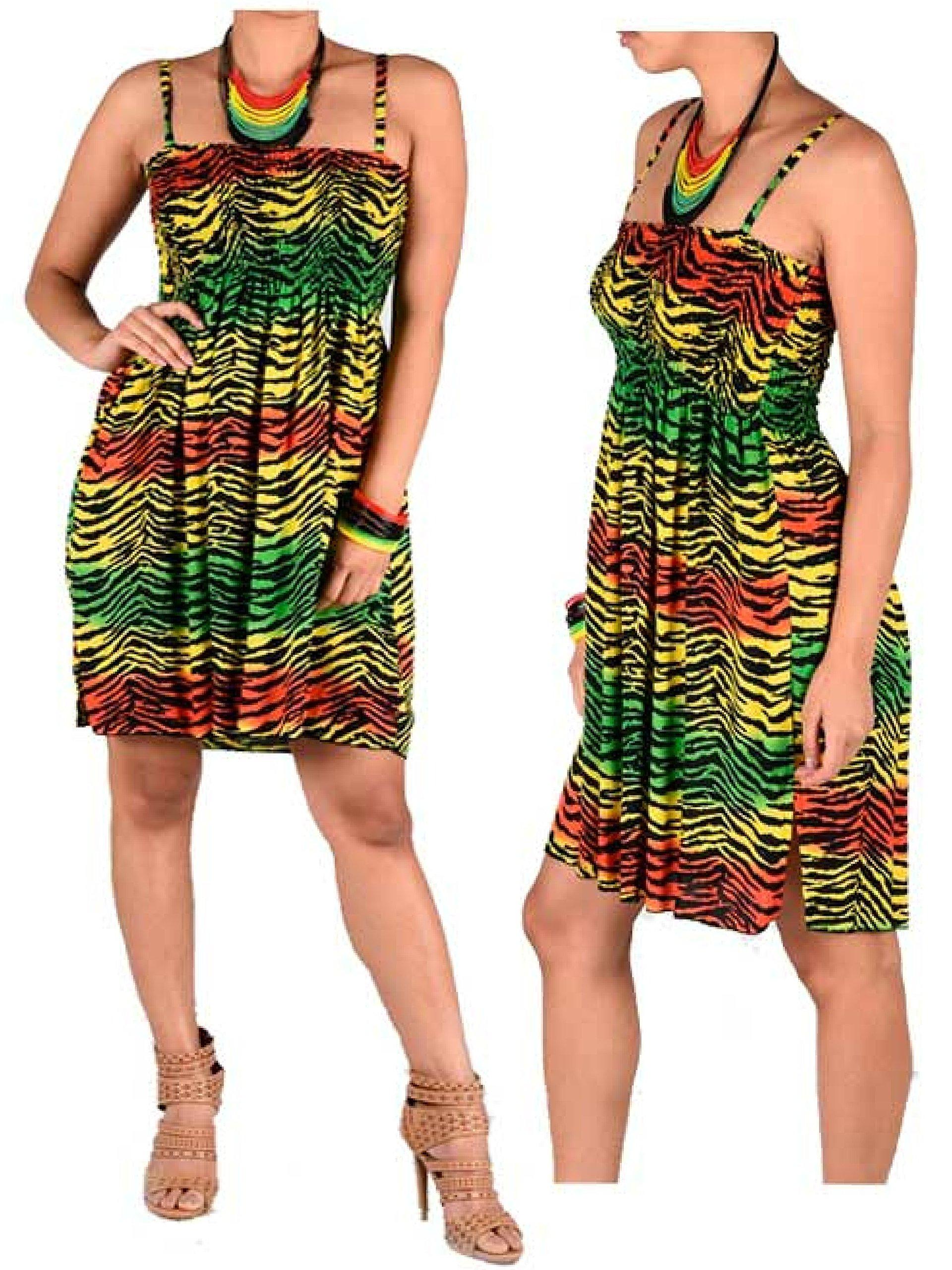 BUNFIREs Women's Festival Rasta Dashiki Zebra Beach Strap Tube Sundress Rasta Bra Bandeau Dress Rasta Wear Dress