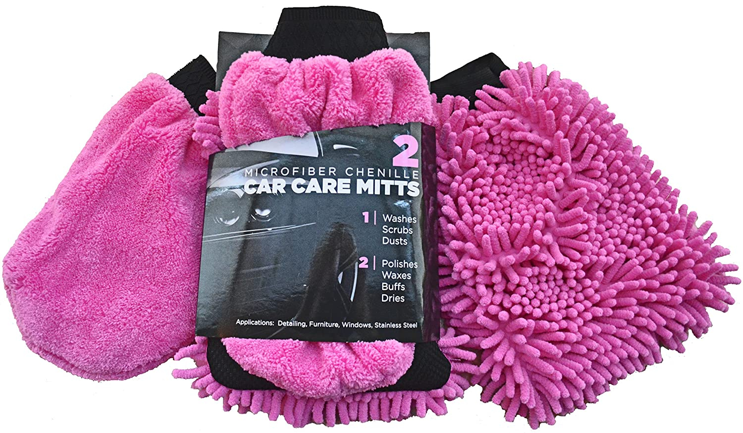 Car Wash Mitt & Duster (2 Blue Mitts) - Classic Car Accessories Gift Set - Dual-Sided Microfiber Washing Glove with Non-Scratch Scrubber Sponge on the Other Side - Bonus Dust & Dry Mitt Included Exceptional Home 6247271