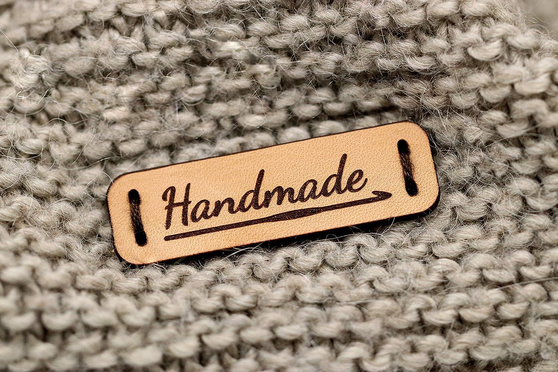 Handmade Leather Labels Tags 15 St/ück - Angepasster Text HMG Exklusive gravierte echte italienische Leder-Tags 3DP Lederetiketten Handmade h/äkeln Mod