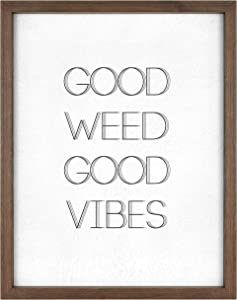 MCS Décor High Quarters 63977 Weed Good Vibes Wood Framed Wall Art, Metallic