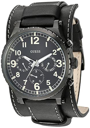 35740228c9f Amazon.com: GUESS Men's Black Multifunction Watch: Watches