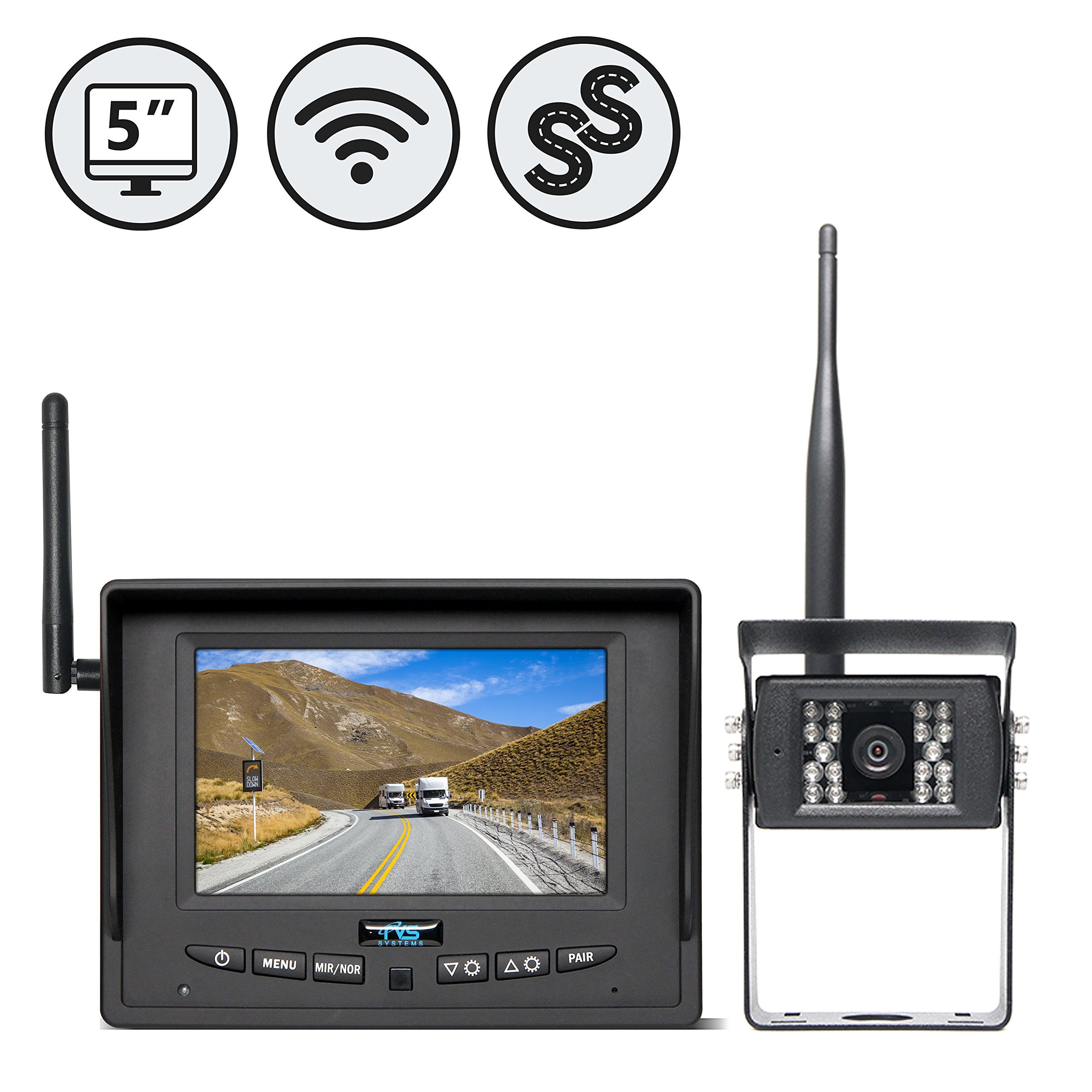 Wireless Backup Camera System for RV, Truck, Bus, Commercial Vehicles by Rear View Safety RVS-155W (with Furrion Prewire Mounting Bracket)