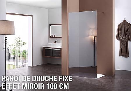Mampara de ducha fija espejo 100 cm: Amazon.es: Hogar