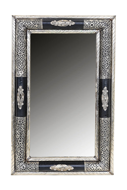 Orient Spiegel Wandspiegel Hayud 70cm groß Silber   Großer Marokkanischer Flurspiegel mit Holzrahmen orientalisch verziert   Orientalischer Vintage Badspiegel ohne Beleuchtung als Orientalische Deko