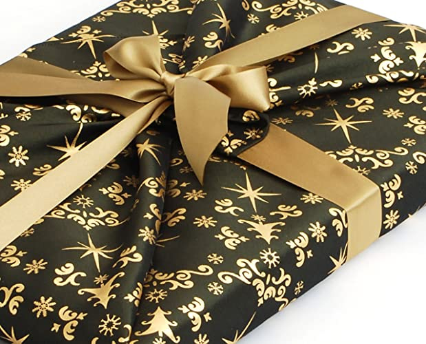 74295dc4e250 Amazon.com: Christmas Fabric Gift Wrapping, Bottle Green with Gold ...