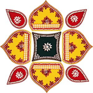 Ruci Store 9 Piece Diwali Rangoli Decor for Wall Decoration, Floor Decoration & Table Decoration for Diwali & Christmas with Tea Light Candle Holder 12 Inch