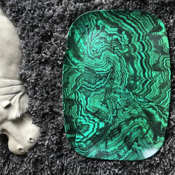 Malachite No. 1 melamine platter by TheMadPlatters on Etsy