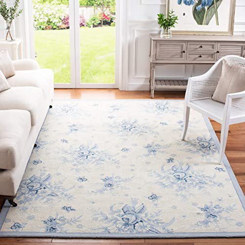 Safavieh Chelsea Collection HK250A Hand-Hooked Ivory and Blue Premium Wool Area Rug 7'9″ x 9'9″