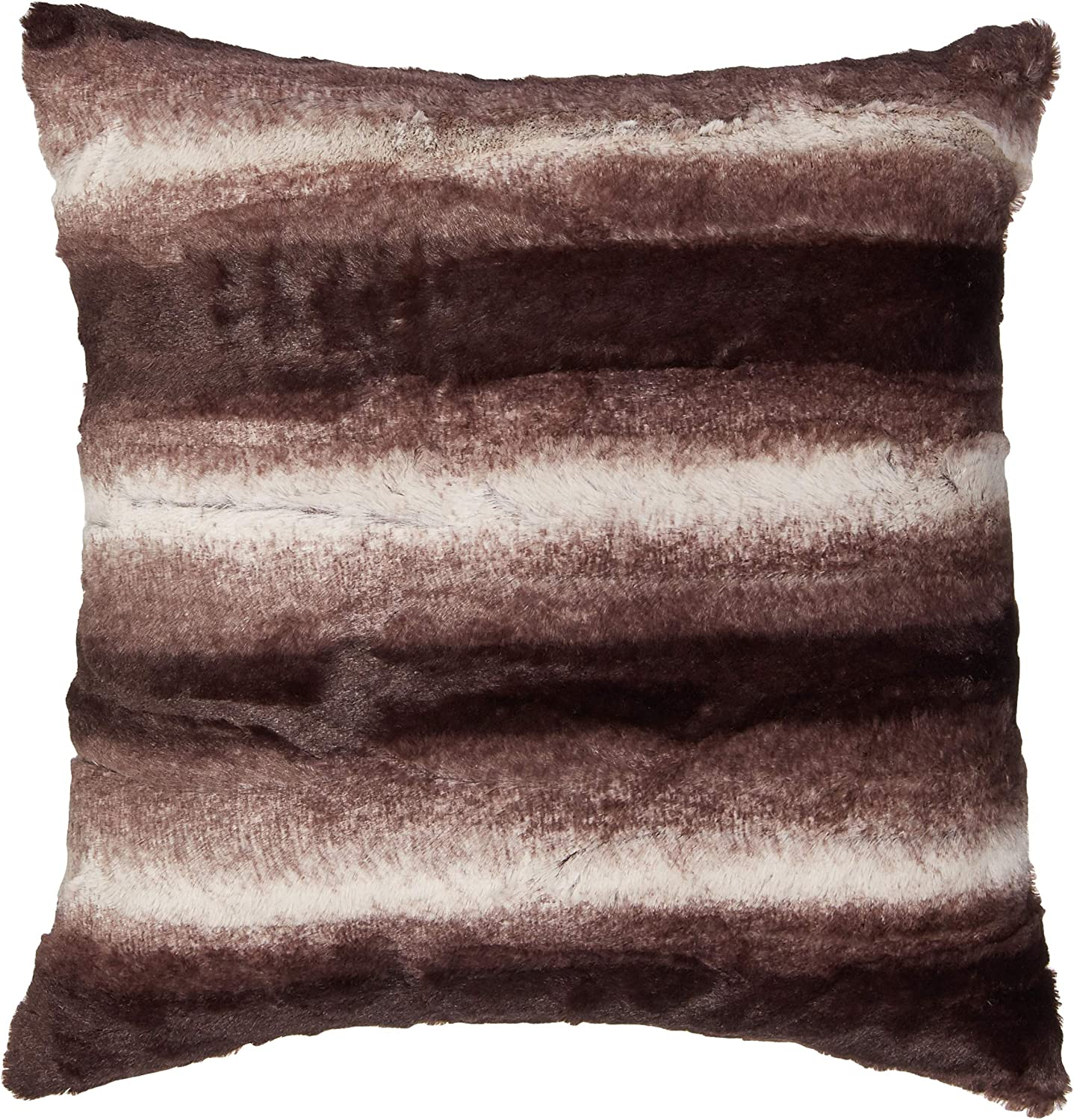 """North End Decor Faux Fur 2-Pack 18""""x18"""" with Insert, Mink Brown White Striped Plush Throw Pillows, 18x18 Stuffed"""