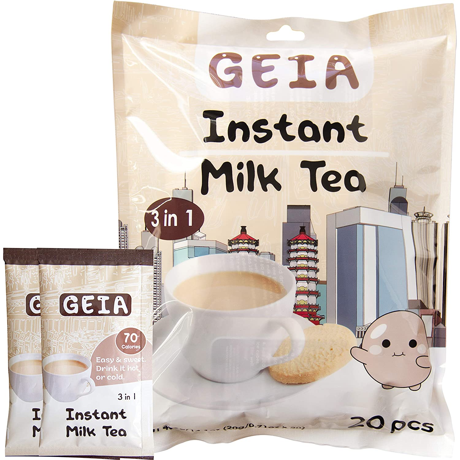 Geia 3 in 1 Taiwanese Instant Milk Tea Drink Hot Or Cold (20-pouch)