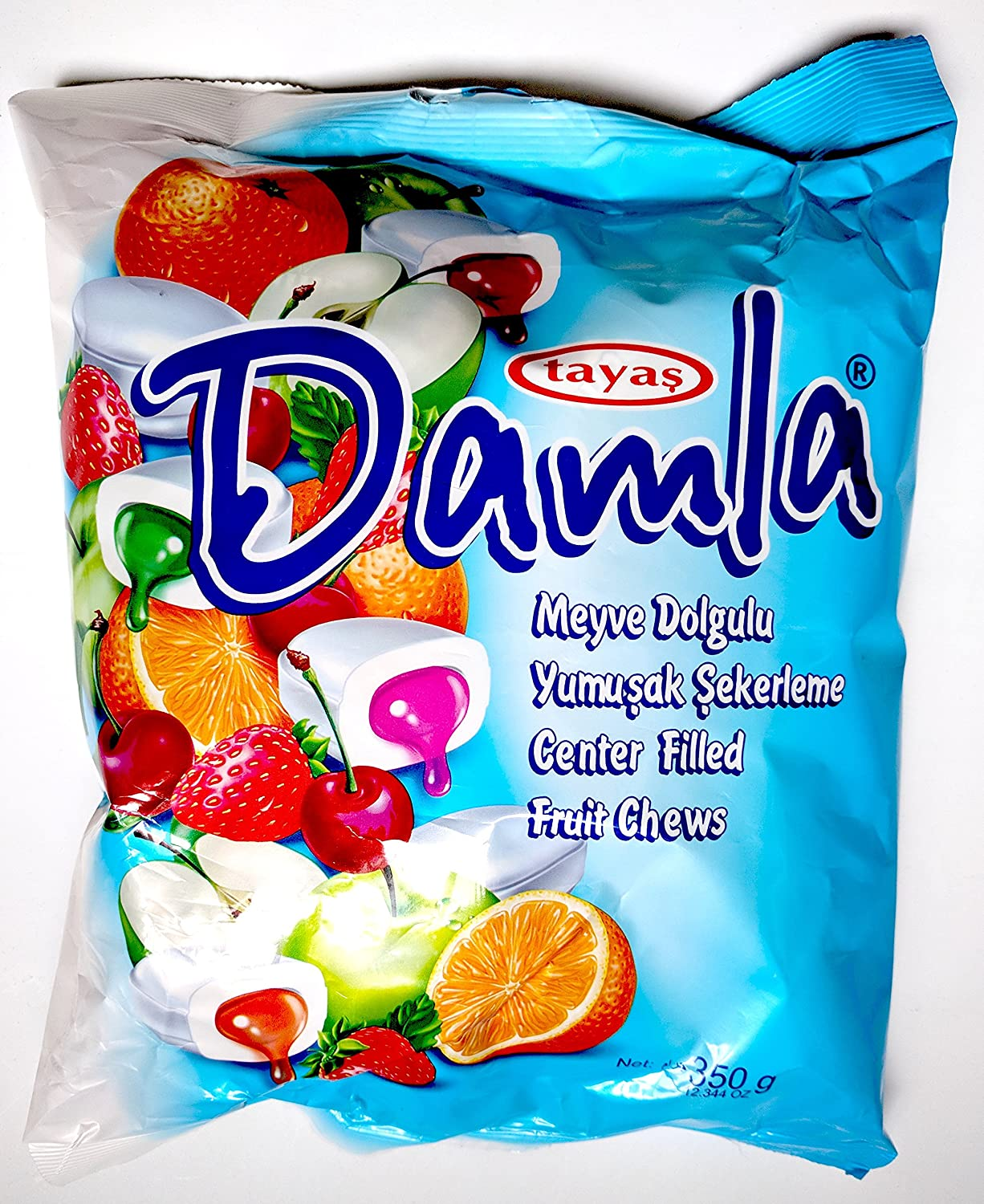 Tayas Damla Soft Chewy Candy Center-filled Fruit Chews, Orange, Strawberry, Sour Cherry, Apple, Peach, Raspberry Family Size 350 Grams, 12.34 Ounces