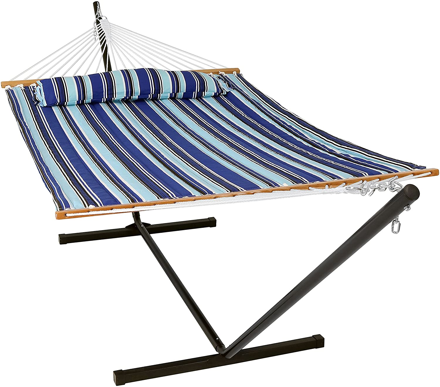Sunnydaze 12 ft Steel Stand with Catalina Beach Double Spreader Bar Hammock Combo Set