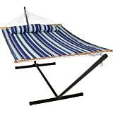 Sunnydaze Quilted Fabric Hammock Two Person with 12-Foot Stand and Spreader Bars, Freestanding Outdoor Heavy Duty 350…