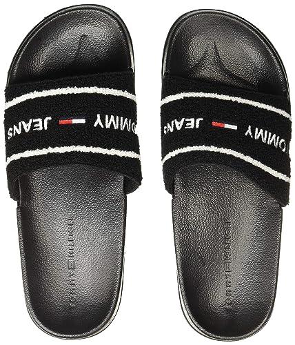 058c0009d1370d TOMMY HILFIGER Men s Tommy Jeans Summer Slide Black Flip-Flops-10 UK India