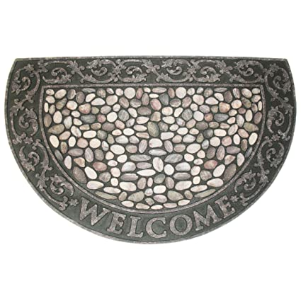 Non Slip Outdoor/Indoor Printed Flocked Half Round Doormat,23x35u0026quot;,  Heavy