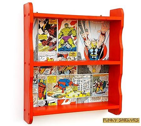 Marvel Avengers Wooden Shelves Bookcase Book Shelf Shelving Unit Hulk Spiderman Thor Boys Kids Childrens Bedroom