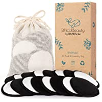 Reusable Makeup Remover Pads Zero Waste Reusable Cotton Rounds 16 Pack + Laundry Bag Ultra Soft Bamboo Fiber Velvet 4 Inch Washable, Two tones Black side and White side All Skin Types
