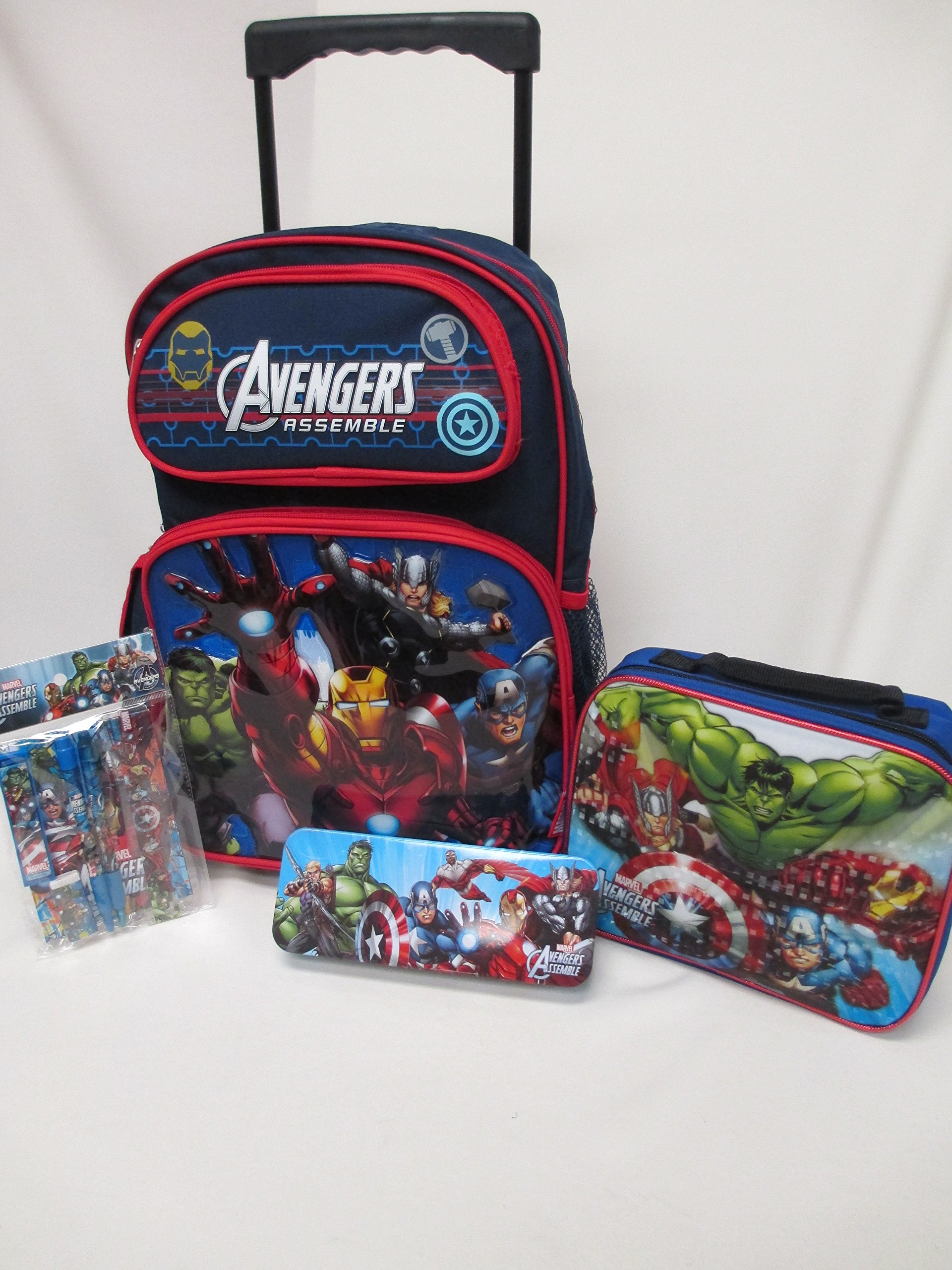 Avengers Assemble Marvel Large 16'' Rolling Backpack Roller Wheeled Book Bag, Lunch Box, Pencil Case & Stationery Set by Bag2School