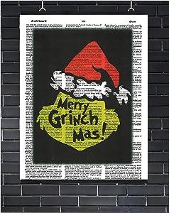 Merry Grinchmas Wall Decor Christmas Wall Art The Grinch Who Stole Christmas Merry Grinchmas Dictionary Art Print