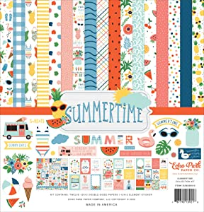 Carta Bella Paper Company Summertime Collection Kit paper, navy, red, teal, yellow, green, pink