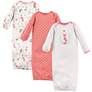 Hudson Baby Baby Cotton Gowns, Woodland Fox 3-Pack, 0-6 Months