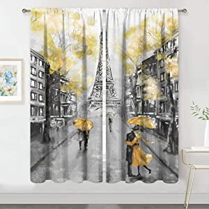 MESHELLY Paris Eiffel Tower Curtains 2 Panels 42 (W) x 63(H) Inch Rod Pocket Yellow Bedroom Decor Oil Painting Landscape European City Couple Art Printed Living Room Window Drapes Treatment Fabric