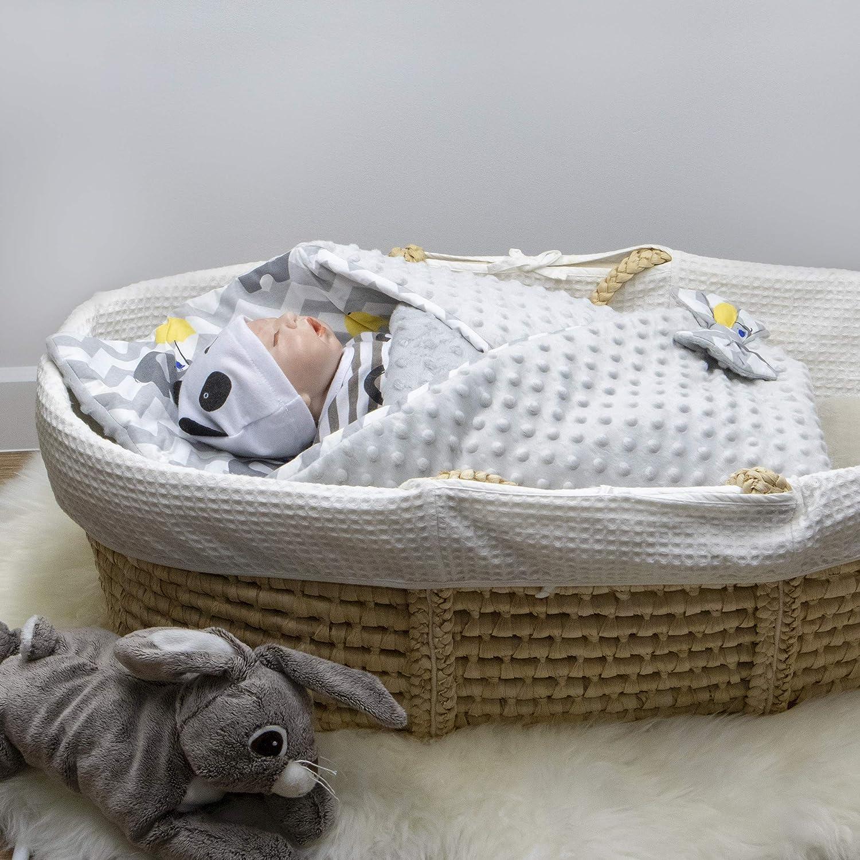 Grau Doppelseitiger Schlafsack f/ür Neugeborene von 0 bis 3 Monaten Fleecedecke BlueberryShop Minky Wickeldecke zum Auto Perfekt als Geschenk f/ür Baby Shower 78 x 78 cm