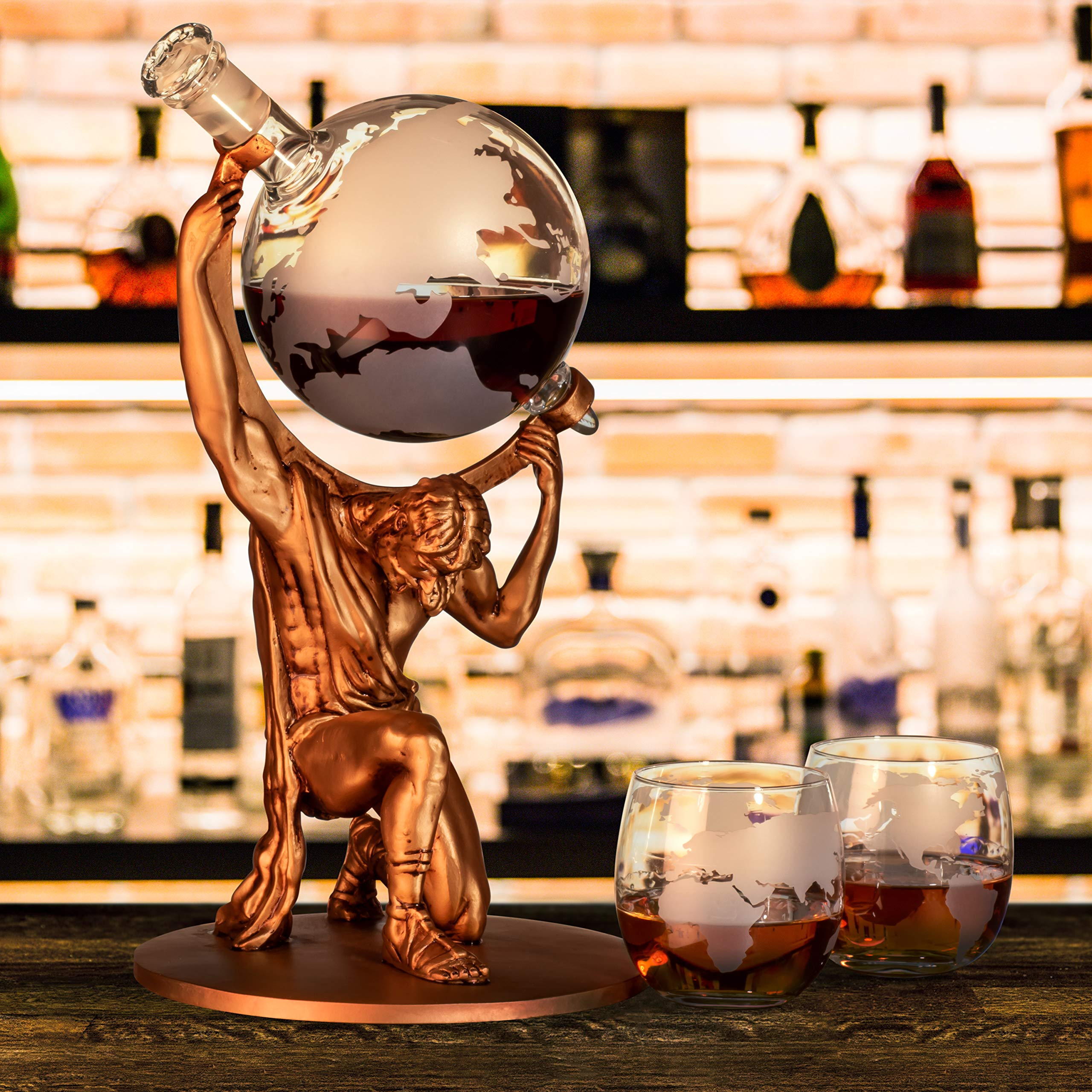 Atlas Man Whiskey Decanter Globe Set - With 2 Etched Globe Whiskey Glasses - For Whiskey, Scotch, Bourbon, Cognac and Brandy - 1000ml by NatureWorks (Image #5)