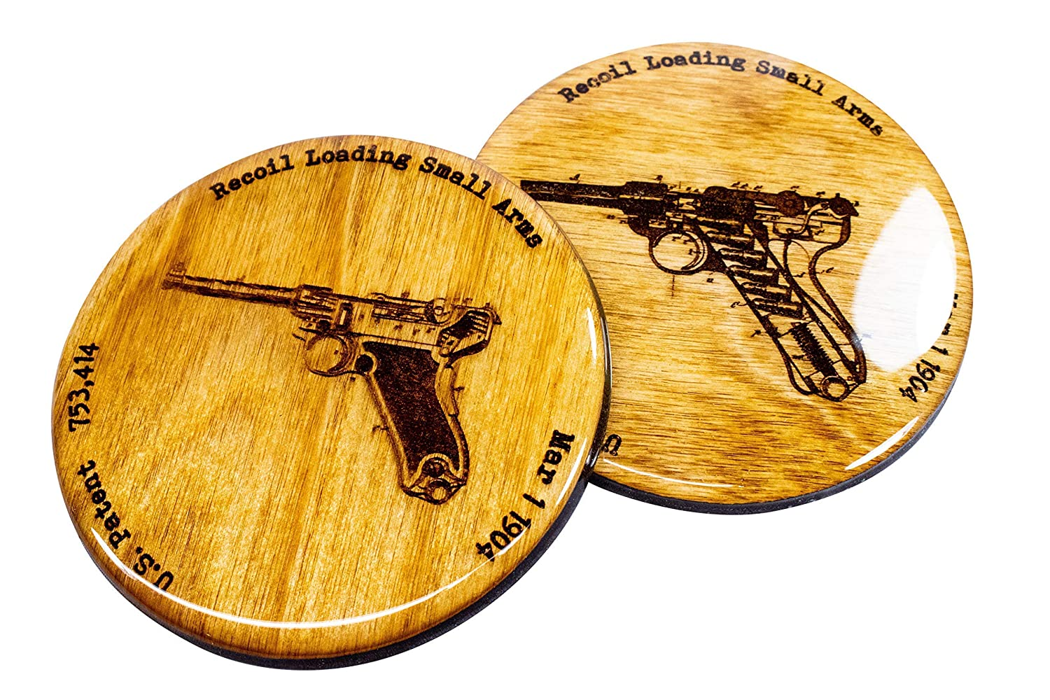 Luger Semi-Automatic Patent Coasters Set of 4 Handmade Wooden Coasters