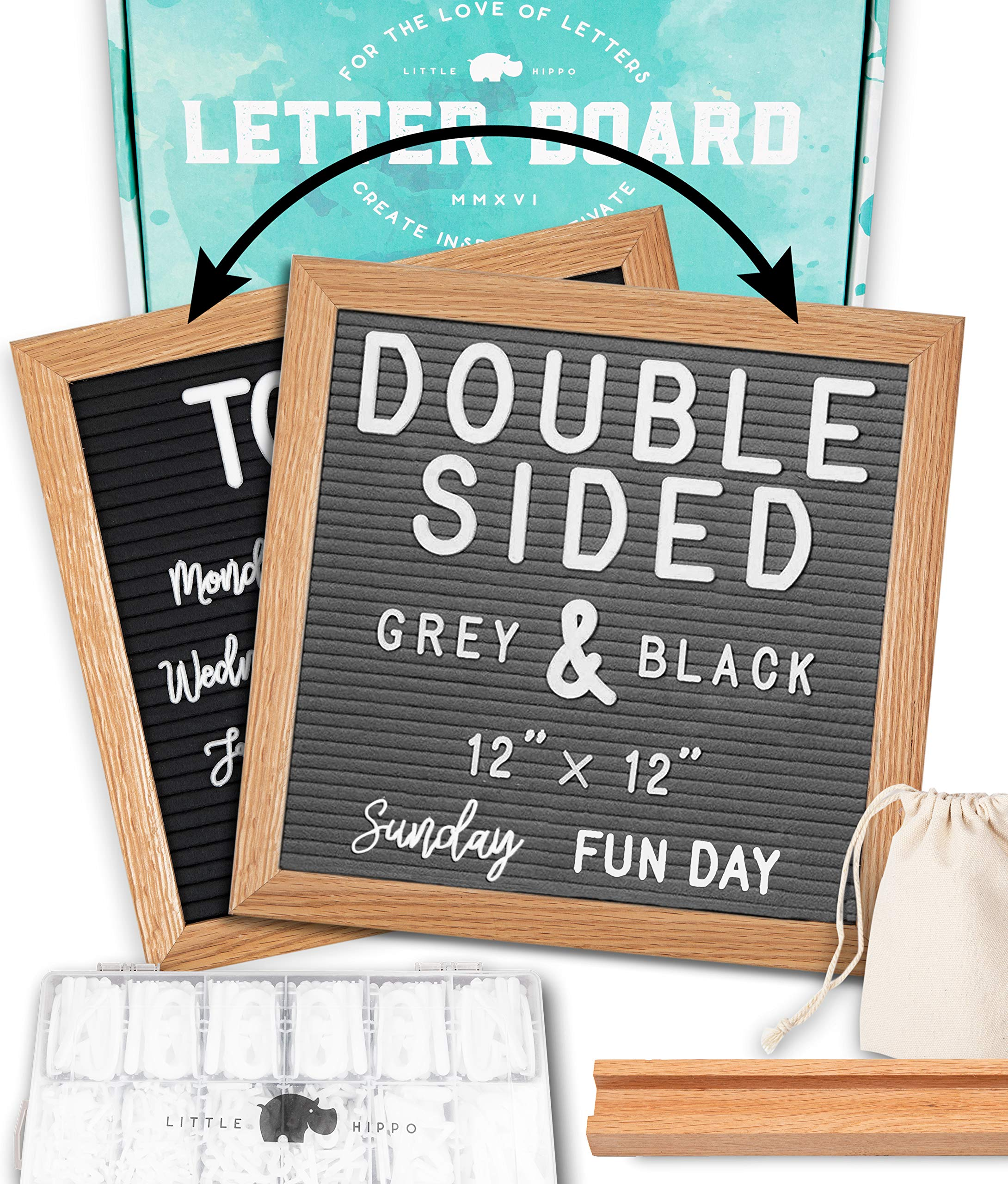 Letter Board 12''x12'' Double Sided (Black & Gray) +690 PRE-Cut Letters +Bonus Cursive Words +Stand +Sorting Tray | Felt Letter Board with Letters, Letter Boards, Letterboard, Word Board
