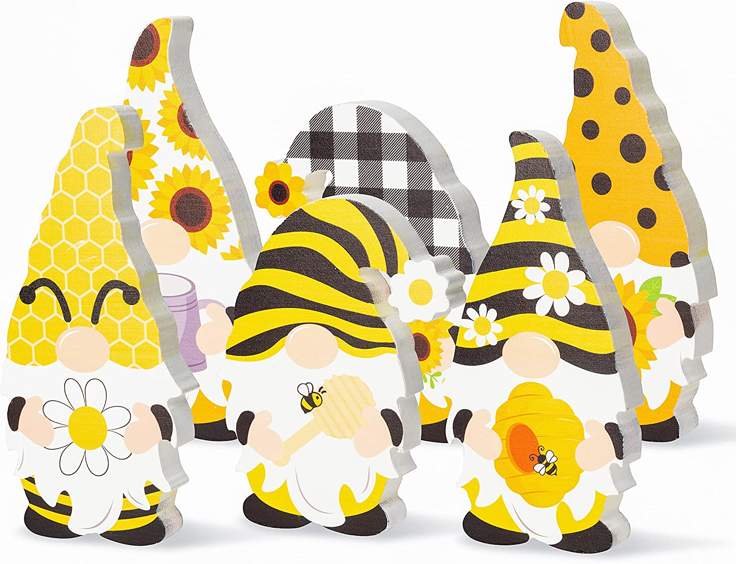 R HORSE 3Pcs Bee Sunflower Gnome Wooden Sign Honeybee Gnome Wooden FreestandingTable Decor Double Printed Gnome Tabletop CenterpieceOrnamentDecoration for Summer Beach Home Office Party