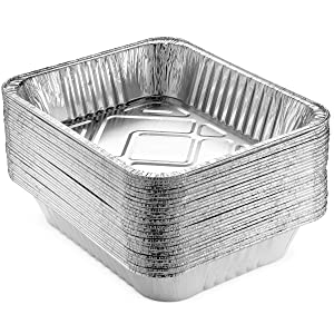 """NYHI 9 x 13 """" Aluminum Foil Pans (30 Pack)   Durable Disposable Grill Drip Grease Tray   Half-Size Deep Steam Pan and Oven Buffet Trays   Food Containers for Catering, Baking, Roasting   Made in USA"""