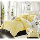 Perfect Home 6 Piece Ferrara Oversized overfilled REVERSIBLE printed Comforter Set. Front a traditional pattern and Reverses into a houndstooth pattern, Twin, Yellow