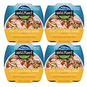 Wild Planet Ready-To-Eat Wild Tuna Pasta Salad With Organic Red Peppers, Tomatoes & Green Olives, 5.6oz, (Pack Of 4), 4Count